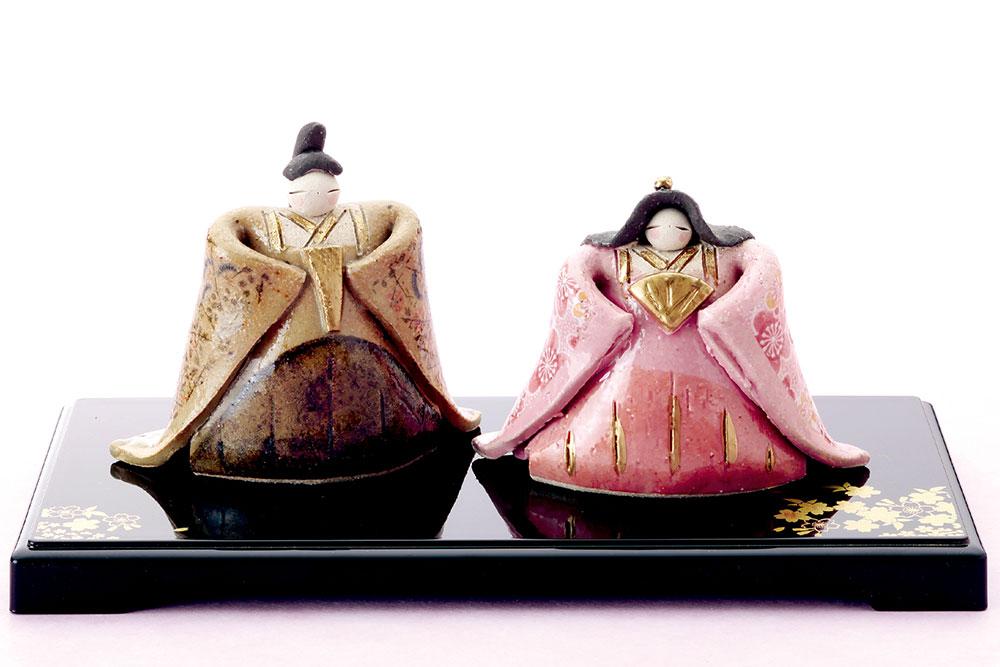 雛人形 コンパクト 陶器 小さい 可愛い ひな人形/ たたら錦彩立雛 /ミニチュア 初節句 お雛様 おひな様 雛飾り