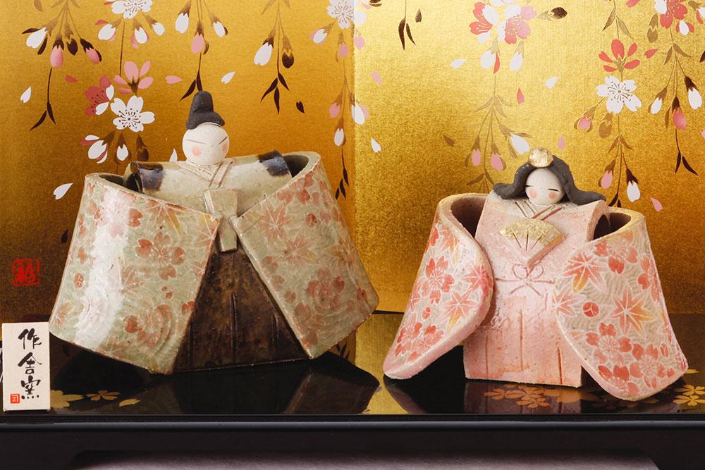 雛人形 コンパクト 人形師の手造り雛人形 豊大窯作 花舞立雛飾り