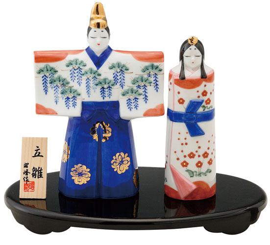 雛人形 コンパクト 陶器 小さい 可愛い ひな人形/ 瑞祥立雛 白磁 /ミニチュア 初節句 お雛様 おひな様 雛飾り