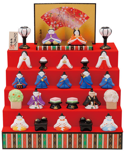 雛人形 コンパクト 陶器 小さい 可愛い ひな人形/ 平安五段雛飾り /ミニチュア 初節句 お雛様 おひな様 雛飾り