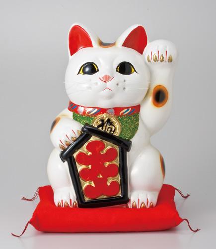 / 大入白猫10号(左手)座ぶとん付 /和食器