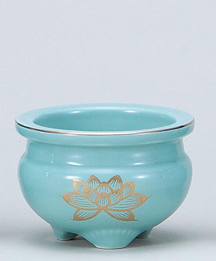 神具 セール 仏具 特別セール品 青地金蓮4.0香炉 和食器