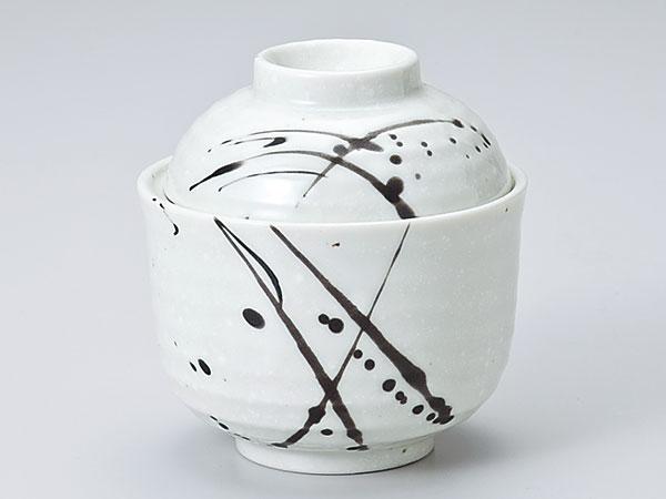 【茶碗蒸碗】【小吸碗】 茶碗蒸し 陶器/ 粉引黒筆流し一口碗 /蒸し碗 ちゃわんむし碗 業務用