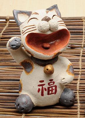 置物 陶器/ 大笑い招き猫 置物(白)(大) /プレゼント 贈り物 祝い