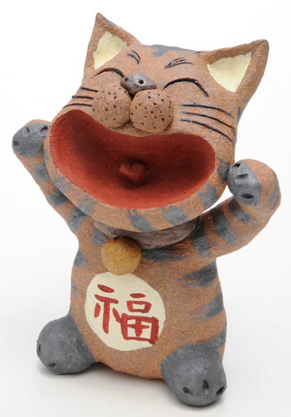 大笑い招き猫 置物(茶)(大)