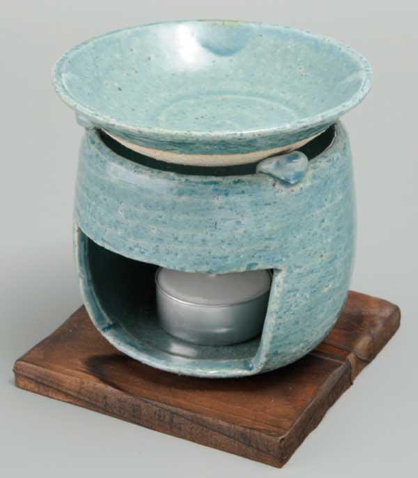 即納送料無料 温かみのある手造りインテリア 器族倶楽部 香炉 陶器 茶香炉 箱入り 当店一番人気 プレゼント 贈り物 アロマ ブルー