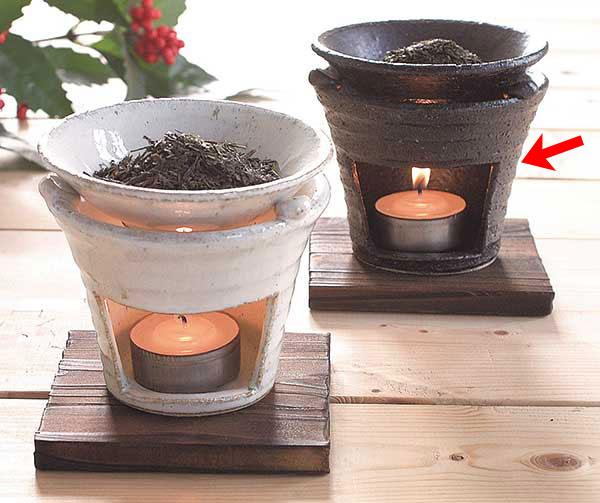 温かみのある手造りインテリア 器族倶楽部 売れ筋 香炉 陶器 茶香炉 贈り物 アロマ 正規取扱店 プレゼント 黒いぶし 箱入り