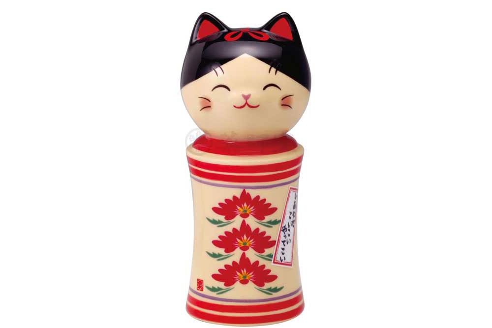 和の縁起物 こけし 置物 インテリア ネコ 猫 開運 招福 贈り物 かわいい 重ね菊 母の日 贈与 彩絵しあわせ猫こけし kawaii 開店祝い 内祝い 大
