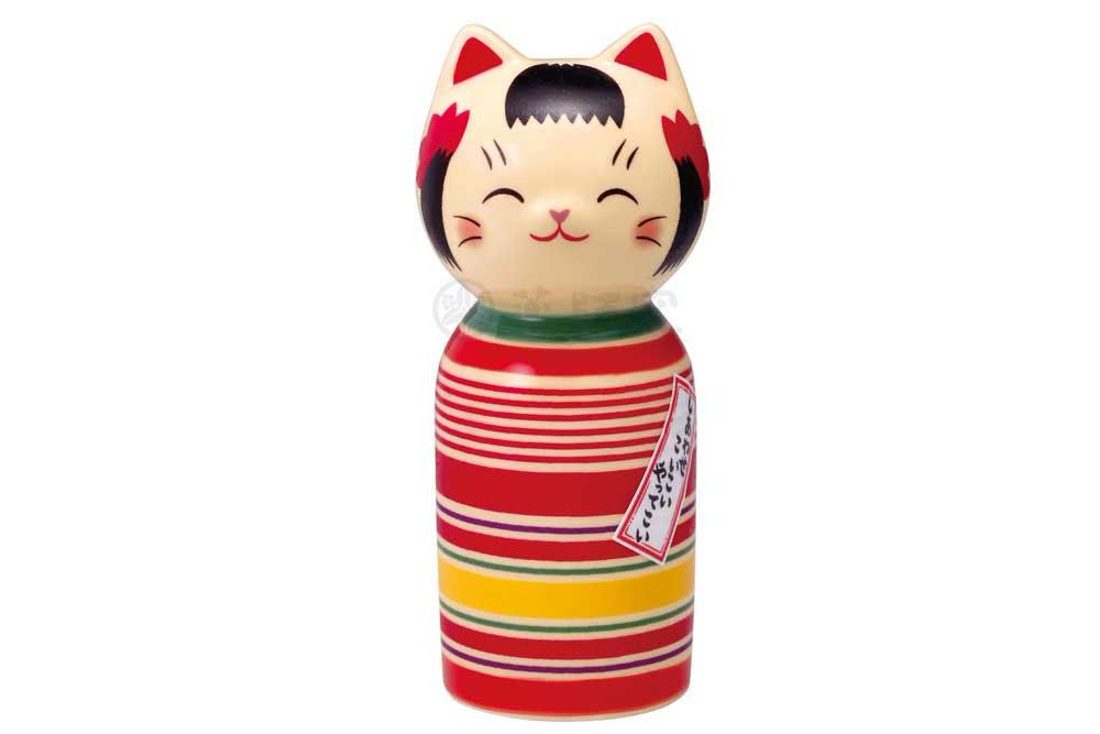 和の縁起物 こけし 置物 インテリア 信頼 ネコ 猫 開運 招福 開店祝い ロクロ模様 彩絵しあわせ猫こけし かわいい 大 贈り物 母の日 kawaii 日本製