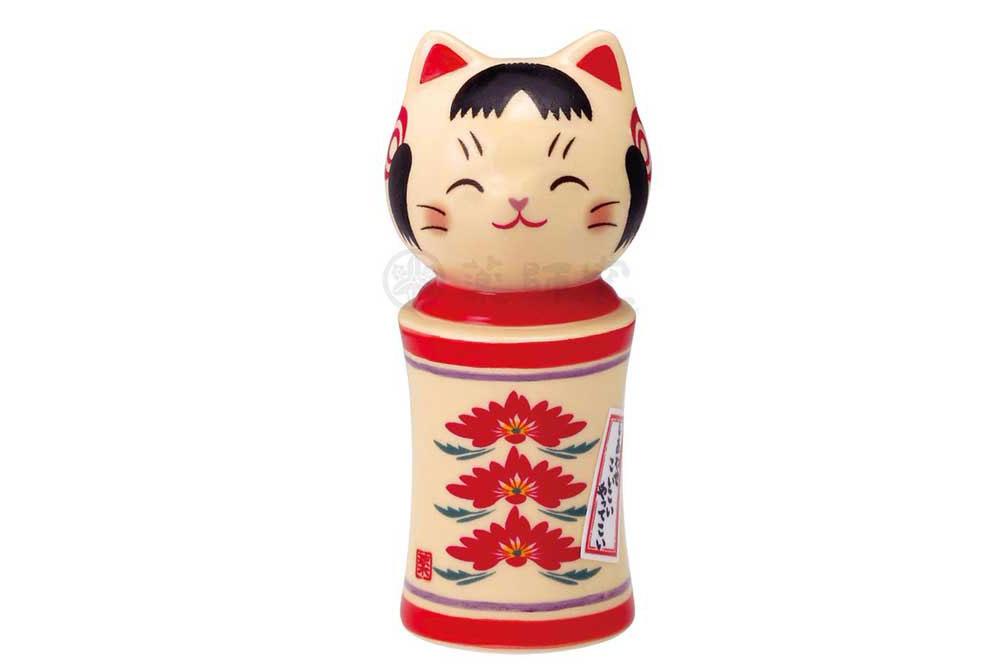 和の縁起物 こけし 置物 インテリア ネコ 猫 開運 招福 かわいい kawaii 開店祝い 母の日 豪華な 激安格安割引情報満載 小 彩絵しあわせ猫こけし 重ね菊 贈り物
