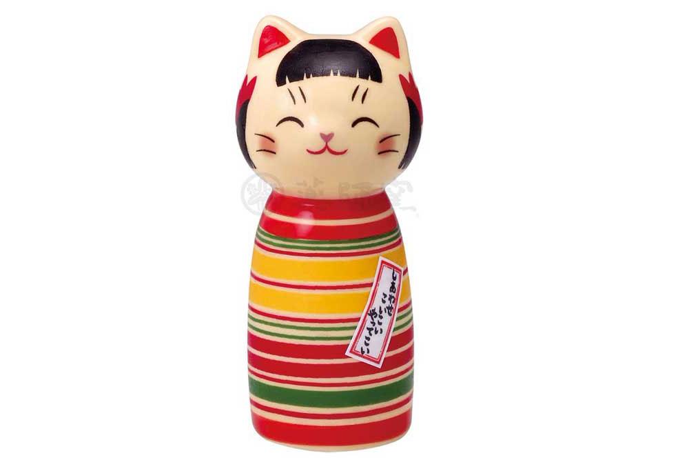 和の縁起物 こけし 置物 インテリア ネコ 猫 開運 定番から日本未入荷 招福 小 kawaii 贈り物 ロクロ模様 かわいい 彩絵しあわせ猫こけし 品質保証 母の日 開店祝い