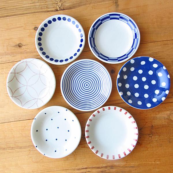 揃えたくなる モダンな和柄小皿 7柄から選べます 和食器 至上 小皿 12cm 豆皿 取り皿 アウトレット込み 美濃焼 KOUSUI 激安通販専門店 プレート 日本製 白 ブルー 丸