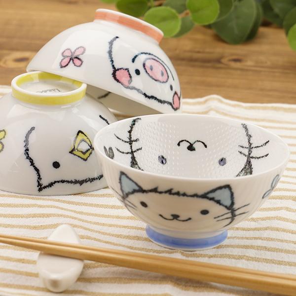 これは便利 くっつきにくくて 洗いやすい 選べる3柄 こども茶碗 くっつきにくい お茶碗 つぶつぶ ちゃわん Lisse ぶた ねこ ひよこ おしゃれ かわいい 子供茶碗 日本製 飯碗 アニマル ごはん茶碗 子供食器