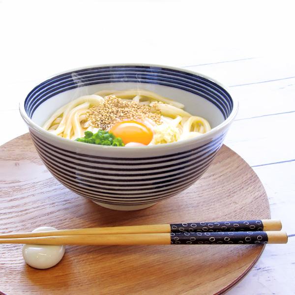 家族みんなで使える 軽量タイプ 超軽量 藍ボーダー 大丼 16.5cm 美濃焼 日本製 陶器 和食器 当店一番人気 上品 麺鉢 大鉢 プロ仕様 どんぶり シンプル おしゃれ うどん 丼ぶり らーめんラーメン鉢