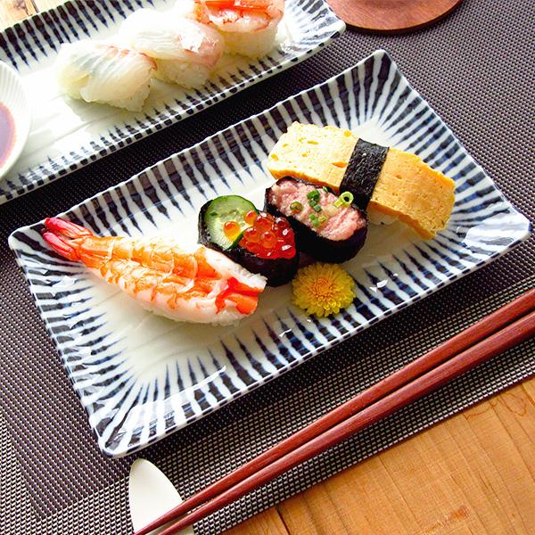 予約 魚皿 強化磁器 お刺身 串皿 十草 業務用にも アウトレット 焼き物皿 22cm 日本製 プレート 長皿 四角い皿 和食器 長方形 美濃焼