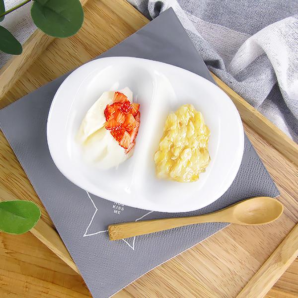 離乳食にぴったり!色々使える小さめ仕切り皿 小さめ 二つ仕切り皿 14cm アウトレット 日本製 美濃焼 陶器 洋食器 食器 白磁 白い食器 子供食器 こども用 離乳食 キッズプレート 仕切り鉢 薬味皿 醤油皿 プレート 重なる スタック かわいい ポーセリンアート 訳あり