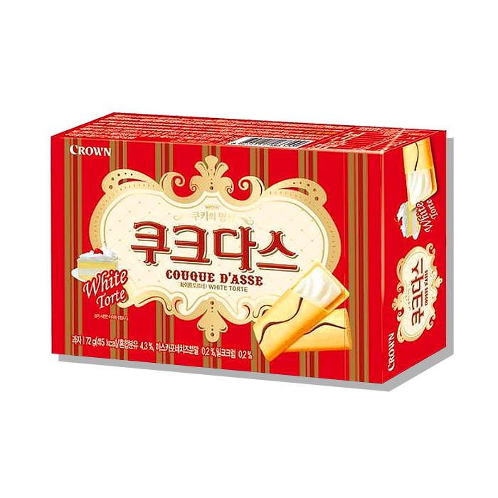 CROWN【ククダス】ホワイトチョコ入り クッキー 64g ★お菓子 /おつまみ /クラウン /ホワイトチョコ /韓国食品 /韓国お菓子 /韓国食材【甘いホワイトチョコ挟んだ高級感あふれるお菓子】