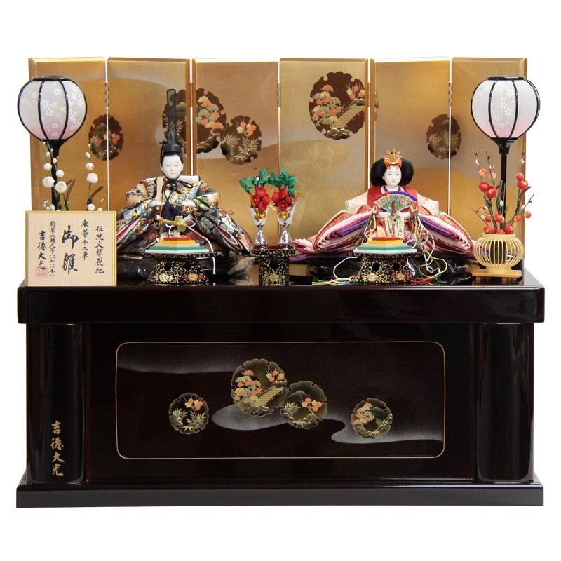 【雛人形】親王収納飾り 束帯十二単(2人) 幅72cm ya-29to9 吉徳大光 伝統文様裂地 305153 雛祭り