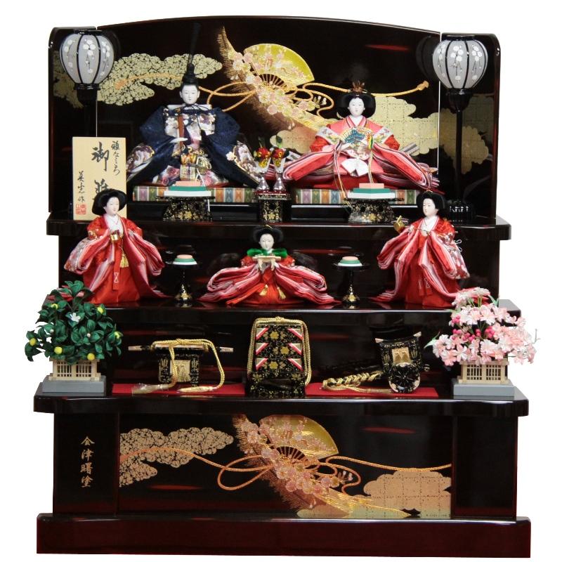 雛人形 五人揃 三段飾り 十番三五(5人) 幅90cm 183to1167 曙セット ひな祭り
