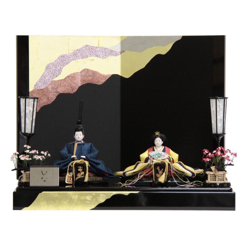 雛人形 親王平飾り 正絹唐草 草木染(2人) 幅70cm 【183to1213】久遊 雛祭り