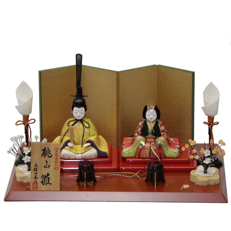 【雛人形】平飾り木目込み親王 正絹桃山雛1号H-32 幅38cm 3mk40 一秀 雛祭り