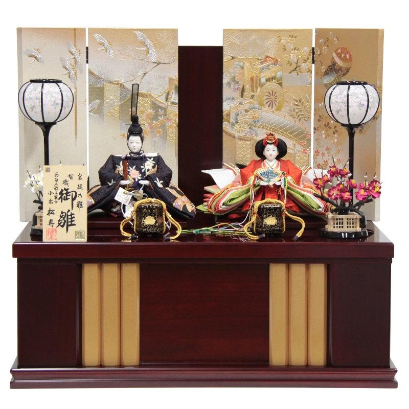 雛人形 親王収納飾り 金彩京刺繍 hn46 9hs1290 幅60cm 小出松寿 市川伯英頭 (193to1294) 雛祭り