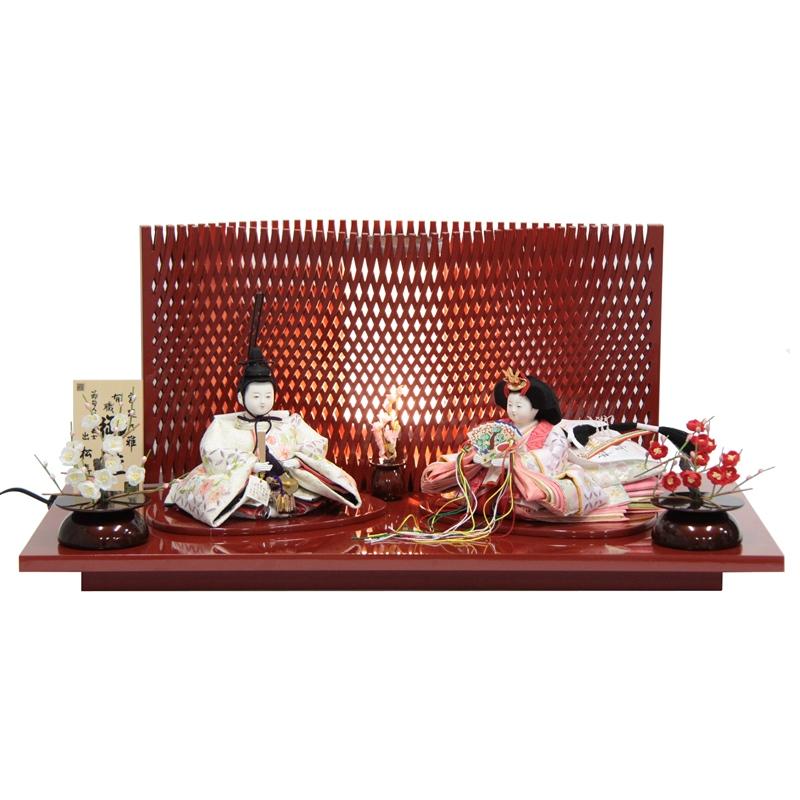 雛人形 行灯飾 親王平飾り おぼこ雛 hn43 9hs1161 幅70cm 小出松寿 市川伯英 頭 (193to1470) 雛祭り
