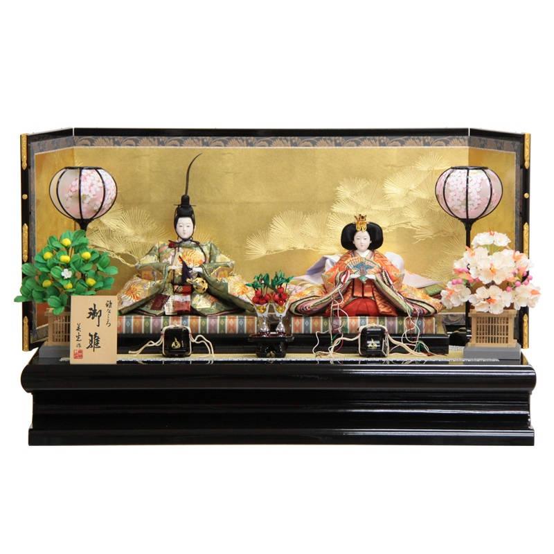 雛人形 親王 平飾り 九番 hn96 hs1030 幅90cm 京刺しゅう 箔押金松屏風 (203to1039) ひな人形