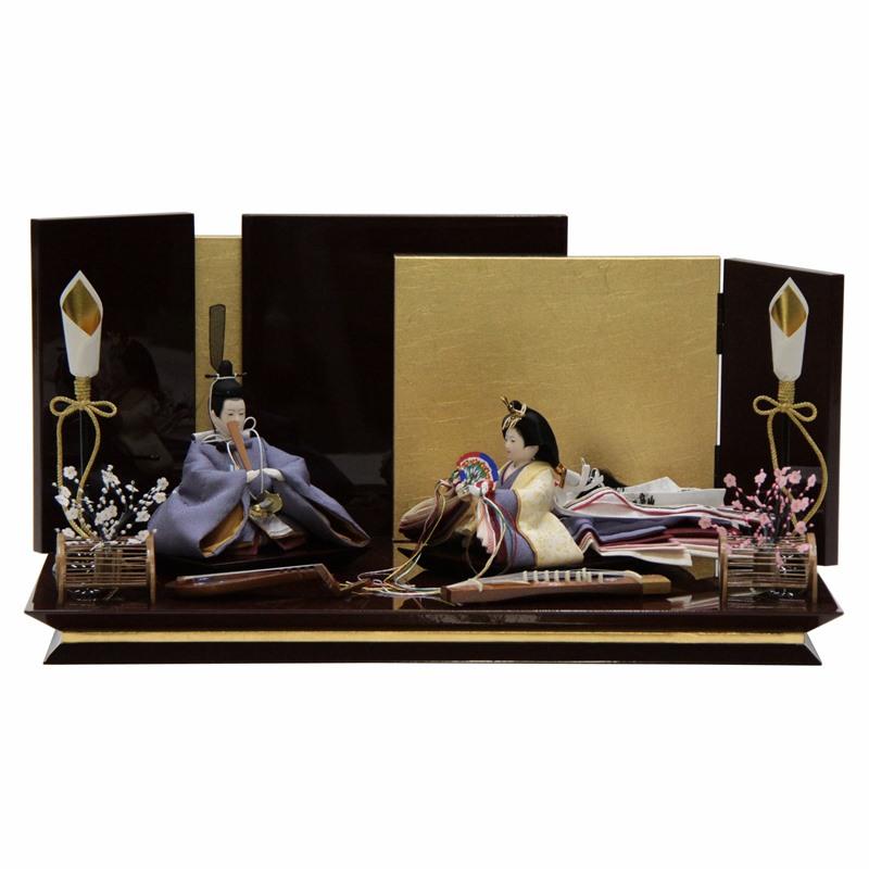 雛人形 親王平飾り 絵巻 裾長 紫 hn142 hs1475 幅55cm 柳三寸 月華屏風台 (to1475) ひな人形 雛祭