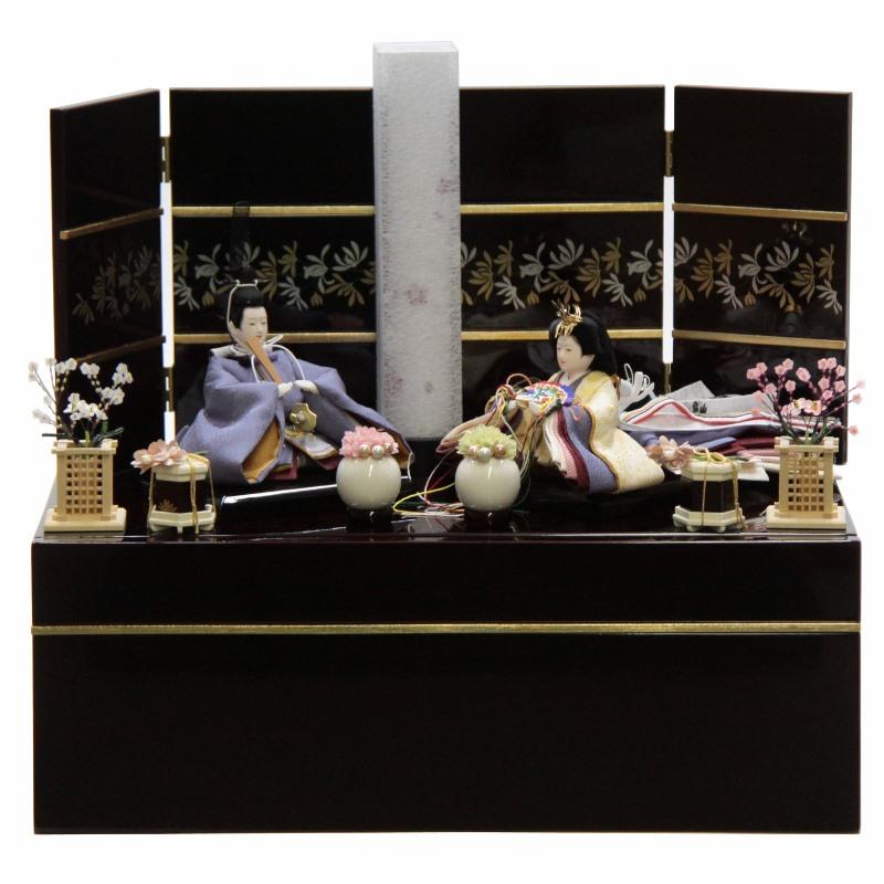 雛人形 親王収納飾り 絵巻 裾長 紫 hn142 hs1480 幅50cm 柳三寸 カリノ引出収納台 行灯飾 (to1480) ひな人形 雛祭