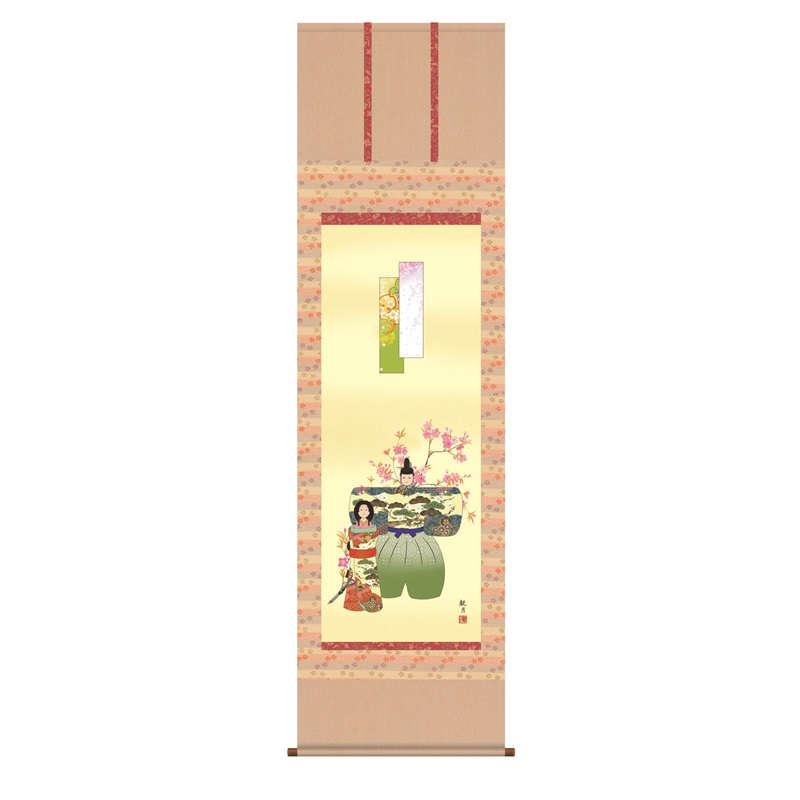 【掛軸】【立雛】森山観月【尺三】【桃の節句の掛軸】【h28f1-171-3】