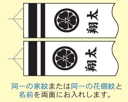 [徳永鯉][鯉のぼり]吹流し[2m~1.2m鯉用][同一の家紋または同一の花個紋と名前][tn-F3b][日本の伝統文化][こいのぼり]
