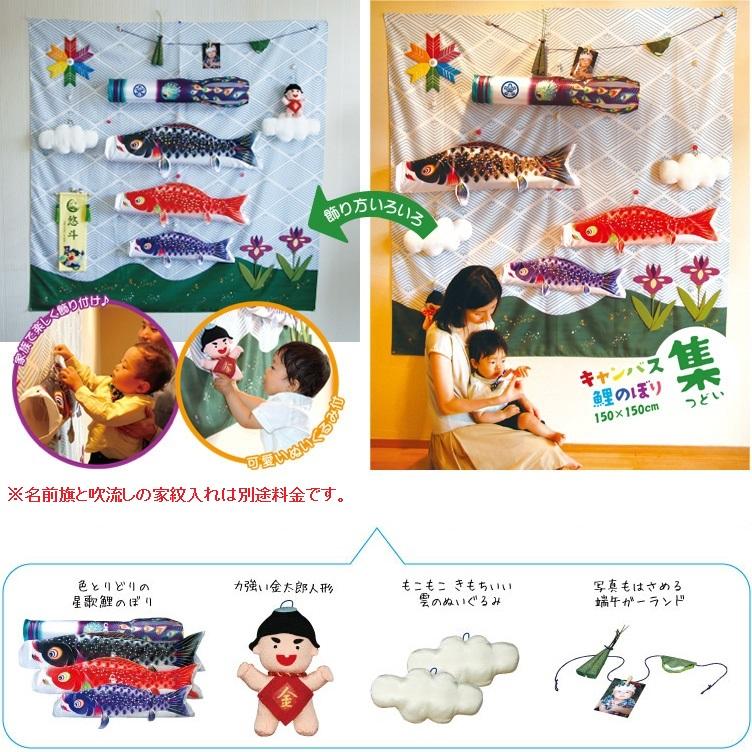 [徳永][鯉のぼり]室内用[キャンバス鯉のぼり]集(つどい)[80cm鯉3匹][星歌スパンコール][日本の伝統文化][こいのぼり]