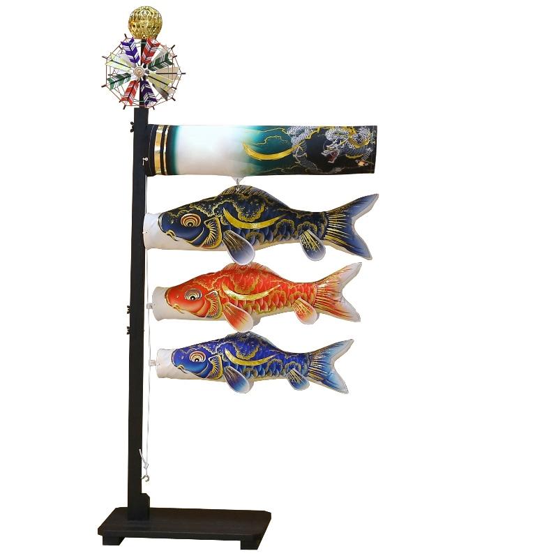 [徳永][鯉のぼり]室内用[室内飾り鯉のぼり][55cm鯉3匹][豪][金彩弦月龍柄吹流し][日本の伝統文化][こいのぼり]