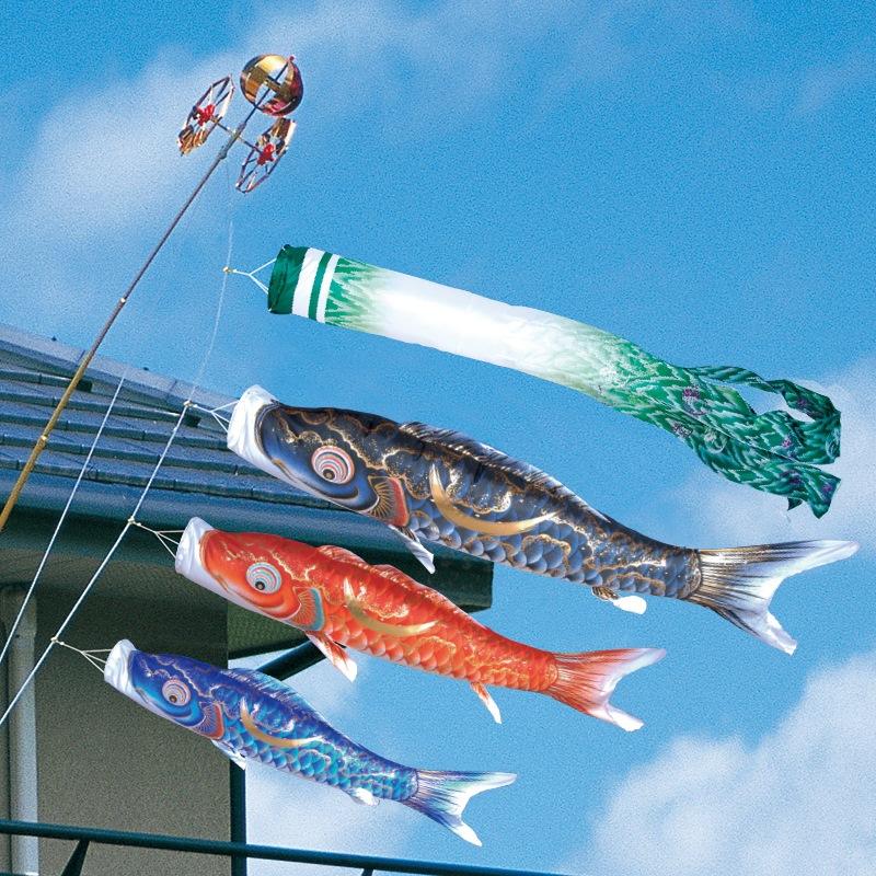[徳永][鯉のぼり]ベランダ用[ロイヤルセット]格子取付タイプ[1.2m鯉3匹][豪][尚武之丸吹流し][撥水加工][日本の伝統文化][こいのぼり]