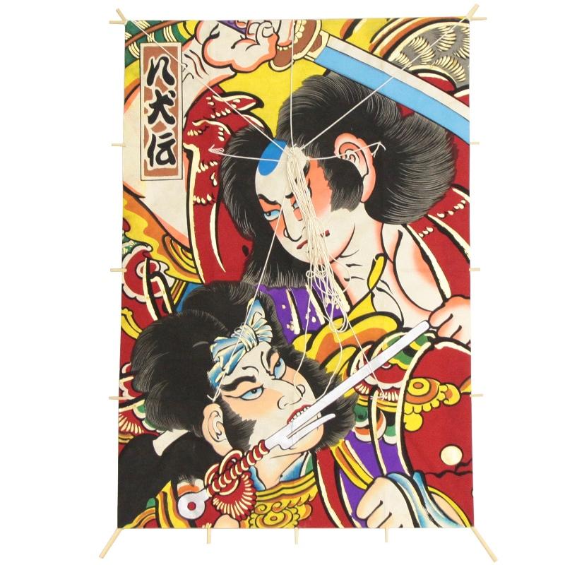 インテリア 手描き【和凧】新特大角凧 縦80×横55cm【ワ-3リ】歌舞伎絵 八犬伝 お正月飾り