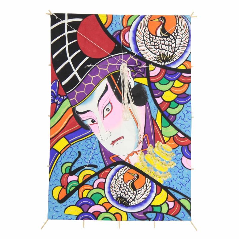インテリア 手描き 和凧 角凧 [歌舞伎絵 三番叟] 縦96×横65cm [ワ-2ホ] お正月飾り