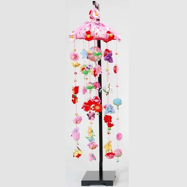 吊るし飾り 12か月の花の蓮  大 スタンド付き 飾り台セット ひな祭りのさげ飾り 雛人形 高さ25cm インテリア