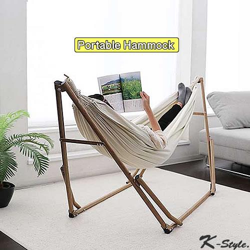 ハンモック 自立式 3Way Style: ハンモック ポータブル ハンモックチェア インテリア キャンプ アウトドア ナチュラル 木目 hammock SFF K-Style