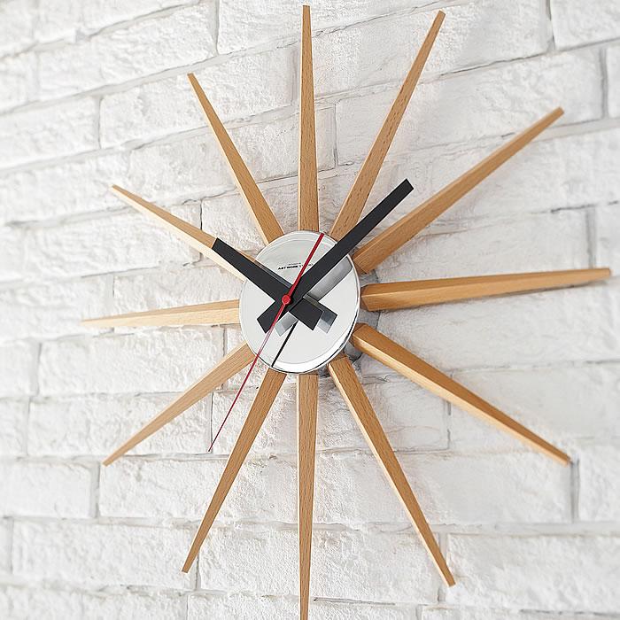 掛け時計 おしゃれ ウォールクロック 021 北欧 時計 壁掛け ナチュラル 天然木 シンプル モダン ミッドセンチュリー 壁掛け時計 静か wallclock
