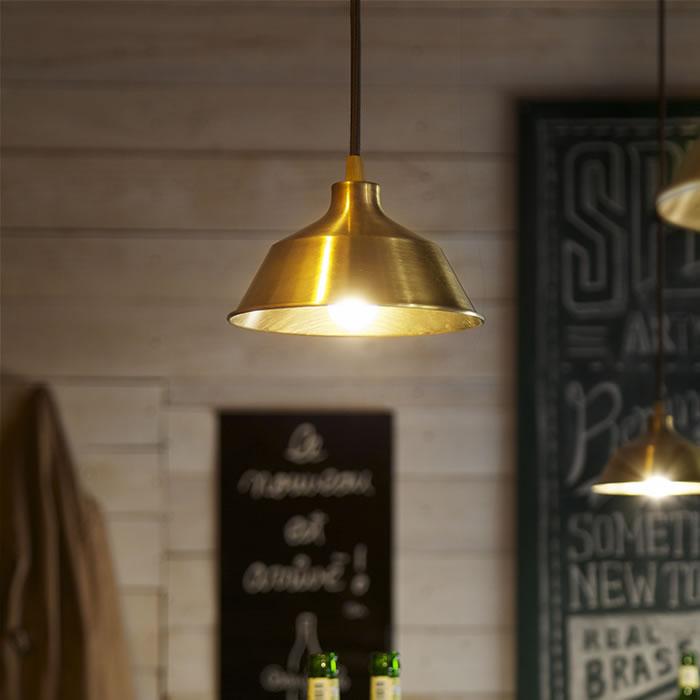 ペンダントライト 照明 ダイニング 吊り下げ灯 カウンター キッチン 天井照明 レトロ 真鍮 1灯 アンティーク カフェ 照明器具 アメリカン 【K-Style】 1灯 真鍮ペンダントライト006 直径180mm