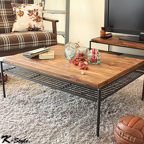 リビングテーブル パイン材 010: テーブル カフェ cafe おしゃれ ローテーブル センターテーブル レトロ K-Style