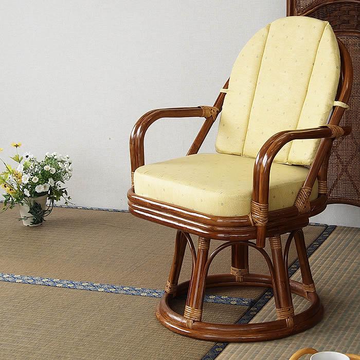 ラタンチェア EXハイタイプ 回転座椅子 背・座面 クッション付 ラタン 回転 籐椅子 チェア 座椅子 イス プレゼント 敬老の日 父の日 母の日 誕生日 【K-Style】 籐回転座椅子ラタンチェア 8-015B