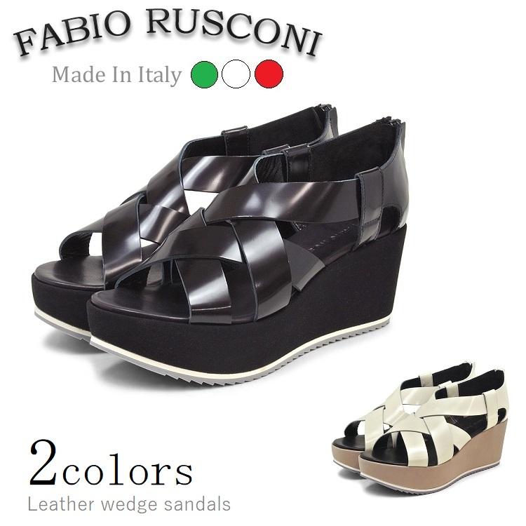 【送料無料】【FABIO RUSCONI】ファビオ ルスコーニ SOLE612 ウェッジサンダル 全2色 レディース