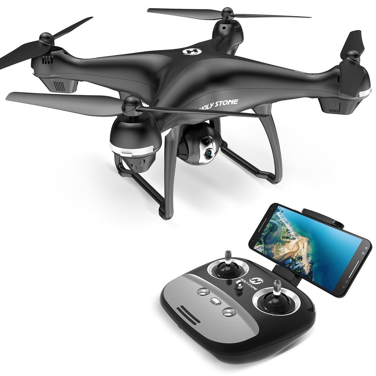 Holy Stone ドローン GPS搭載 1080P広角HDカメラ付き フォローミーモード オートリターンモード 操縦可能距離500M 生中継最大距離400M 画像遅延が無い 最大飛行時間15分 高度維持 モード1/2自由転換可 国内認証済み HS100G