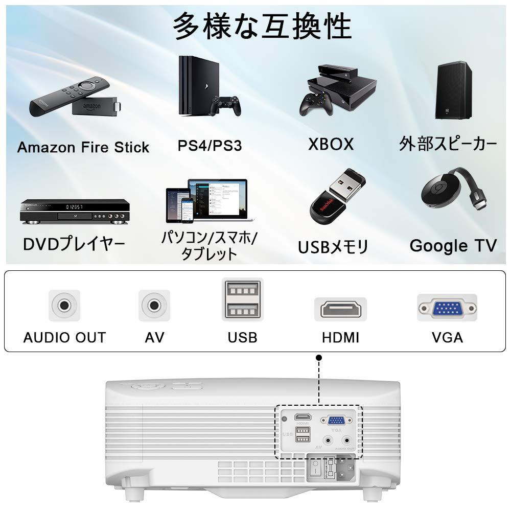 POYANK データプロジェクター 3600LM 1080PフルHD対応 1280×720ネイティブ解像度 サブウーファー音効 パソコン/スマホ/タブレット/PS3/PS4/DVDプレイヤーなど接続可 USB×2/HDMI/AV/VGA対応 2.15KG 3600ルーメン