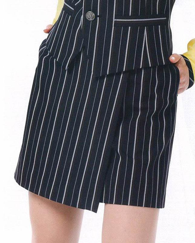 スカート レディースアミューズメント パチンコ店女性用メリハリストライプのスカート