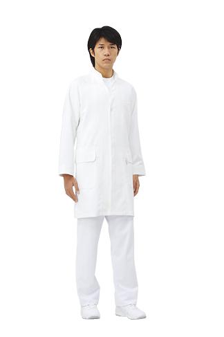 メンズ シングル コート 長袖白衣 医療 男性白衣ドクター 診察衣オフホワイト