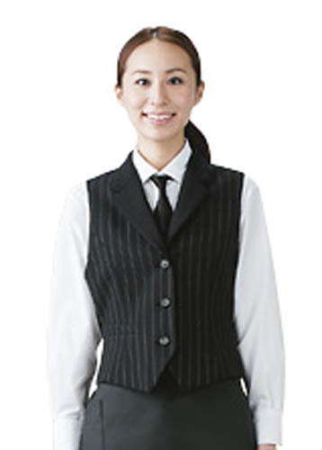 ベスト レディース女性用 飲食店ピンストライプの上質なベスト業務用