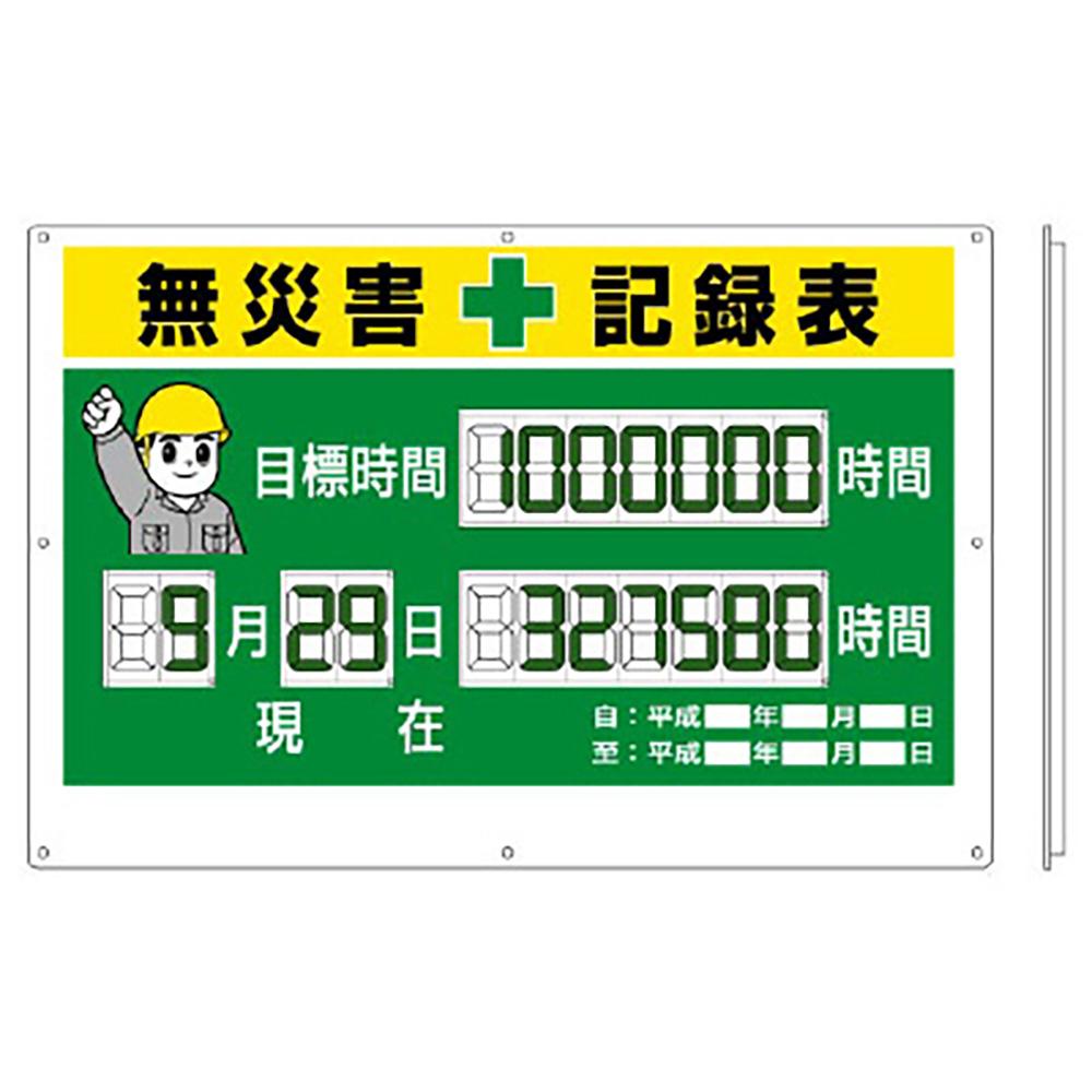 ユニット(UNIT)【315-18】デジタル数字型無災害記録表 数字板固定式